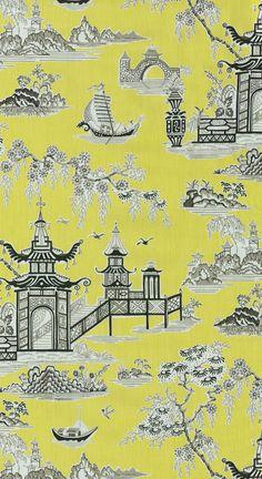 Home Decor Print Fabric- Waverly Peaceful Temple Lemongrass