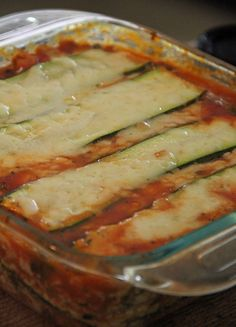 Zucchini Lasagna. So many veggies!-  /meat sauce, zucchini, cottage cheese.  /end with - meat sauce, zucchini, sprinkle with Mozza cheese. / That's 3 layers of meat, 3 layers of zucchini, but only 2 layers of the cottage cheese. / Cover with tinfoil and bake at 375 for 50 minutes. Remove foil and bake for 10 more minutes, uncovered.