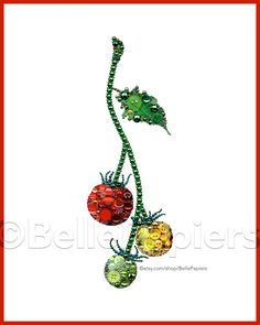 Button Art Tomato Painting Kitchen Herbs Art by BellePapiers