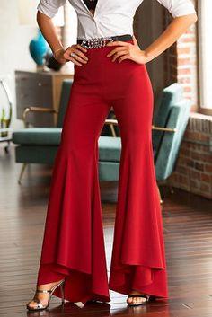 Hi-lo ruffle pant from Boston Proper Stylish Dress Designs, Designs For Dresses, Stylish Dresses, Fashion Pants, Fashion Dresses, Pants For Women, Clothes For Women, Children Clothes, Ruffle Pants