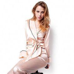763f563453 Pink Robe and Pants Womens Silk Pajamas Set with Belt and Black Trim  silkpajamas  Silk