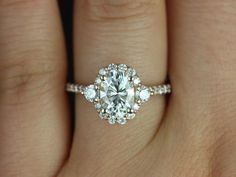 THE ring that I LOVE! Rosados Box Bridgette Rose Gold Oval FB Moissanite and Diamonds Halo Engagement Ring