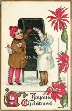 Mailing the Christmas Packages ~ 1913 postcard