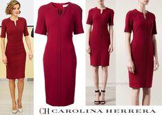 Doña Letizia's split-neck dress from Carolina Herrera (£2446) in Pantone's Colour of the Year, Marsala.