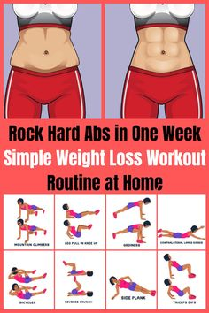Rock Hard Abs in One Week - Simple Weight Loss Workout Routine at Home Weight loss for women who want to challenge themselves and burn fat. Fitness Workouts, Yoga Fitness, Gewichtsverlust Motivation, Health Fitness, Hard Ab Workouts, Fitness Diet, Extreme Ab Workout, Gym Workouts To Lose Weight, Side Workouts