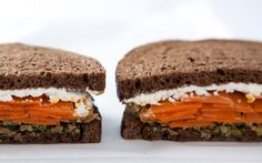 Moroccan Carrot and Goat Cheese Sandwiches with Green Olive Tapenade ~ via Gourmet, Photograph by Stephanie Foley