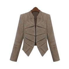 Stylish Collarless Long Sleeve Slimming Faux Leather Jacket For Women