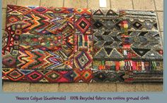 Rug hooked by Yessica Calgula of Guatemala; 100% recycled fabric