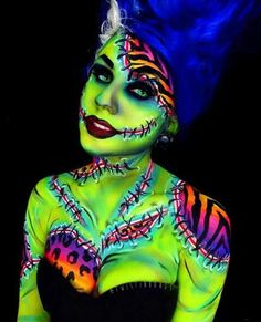 screen shot 2017 09 28 at 2 10 57 pm These Lisa Frank inspired Halloween makeup . Hallowen , screen shot 2017 09 28 at 2 10 57 pm These Lisa Frank inspired Halloween makeup . screen shot 2017 09 28 at 2 10 57 pm These Lisa Frank inspired Hal. Amazing Halloween Makeup, Halloween Looks, Halloween Costumes, Halloween Inspo, Creepy Halloween, Frankenstein Makeup, Bride Of Frankenstein, Frankenstein Costume, Lisa Frank