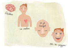 """""""Denken is voelen in je hoofd om te zeggen"""" Quote 77 www.jufmagikkunstmaken.nl"""