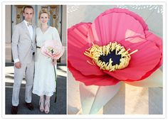 "DIY giant paper flower- what a cool wedding ""bouquet"" idea.  i want to make giant paper flowers for my mantle."