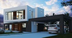 Trendy concrete structure design model (203 m2) developed and priced for construction on a flat plot.This 2 storey villa comprises on the ground floor: entrance hall, internal staircase, guest toilet, living/dining room with modern open plan kitchen with breakfast bar with appliances from Whirlpool and Frecan. Large covered terrace  -