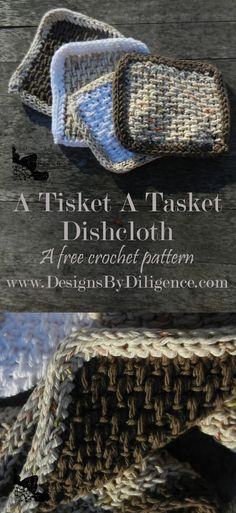 A Tisket A Tasket Dishcloth is a free Tunisian Crochet pattern for a simple dishcloth. It has a companion pattern for a basket to keep the dishcloths in. How Fun. #freecrochetpattern #tunisiancrochet #Ravelry