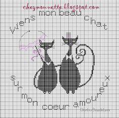 amour - love - chat -  point de croix - cross stitch - Blog : http://broderiemimie44.canalblog.com/