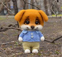 Купить Щеночек Кузя - оранжевый, щенок, щеночек, щенок из шерсти, собака, собака игрушка