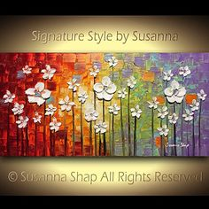 Large ORIGINAL Abstract Landscape Oil Painting Textured White Flower Modern Multicolored Palette Knife Painting Wall Decor on canvas Susanna Flower Landscape, Abstract Landscape, Landscape Paintings, Painting Edges, Texture Painting, Tree Wall Art, Canvas Wall Art, Palette Knife Painting, Art N Craft