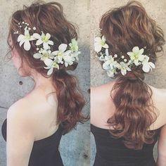 * * wedding ♡ hair * * デンファレ かすみ草 * * 海外挙式にもピッタリ♡ * * #ヘアアレンジ #ウェディング #浜松市 #マリhair