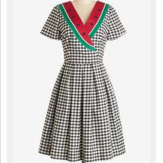 Picnic Person Watermelon Summer Dress Gingham L