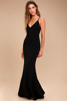 You& be a thing of beauty and a joy forever in the Infinite Glory Black Maxi Dress! Sleek, stretch knit shapes this stunning dress with a darted, triangle bodice, adjustable straps, and maxi skirt with flaring mermaid hem. Scoop back with hidden zipper& Cute Prom Dresses, Beautiful Prom Dresses, Mermaid Dresses, Sexy Dresses, Nice Dresses, Long Dresses, Long Black Bridesmaid Dresses, Dress Long, Party Dresses