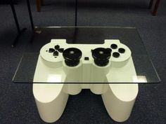 Playstation controller table... my son would go NUTS for this! lol!