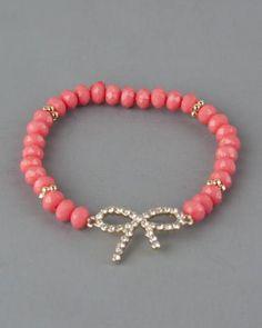 Coral Bow Stretch Bracelet