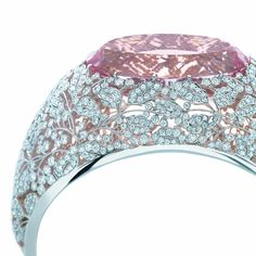 A bangle in platinum with an oval morganite, a gem named after the financier J.P. Morgan, and lined with 18k rose gold.