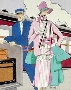 """""""Golden Age of Travel: The Orient Express"""" By Nicholas Foulkes- Fashion illustration from Art Goût Beauté magazine, 1927."""