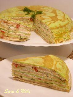 Culorile din farfurie: Tort aperitiv din clatite si crema de branza