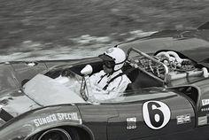 Mark Donahue at the wheel of his Penske Lola T70.