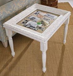 frame table--picture frame attached to a piece of wood and legs attached--then paint