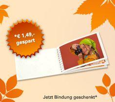 Bis 31.10.2012 - Mini-Fotobuch zum Aktionspreis. Bis Ende Oktober bezahlen Sie nur die Anzahl der eingefügten Fotos, die Bindungen (im Wert von 1,49 Euro) bekommen Sie geschenkt!
