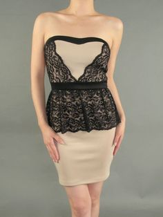 NEW WOMEN STRAPLESS TAUPE & BLACK LACE OVERLAY DRESS Cocktail Party Sexy S M L