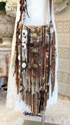Handmade Sheepskin Fur Bag Leather Suede Fringe Tan Brown Hippie Purse tmyers #HandmadebyTraciMyers #Crossbody