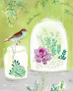 """""""Hello Love"""", watercolor and mixed media painting of little terrariums with succulents, hand lettering, and bird by Ali Kurzeja"""