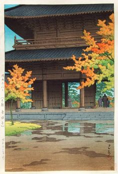 Has every good aspect of Ukiyoe - beautiful foliage colors, water, and old architecture.