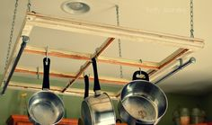 Thrifty Decorating: Turn an Old Window into a Pot Rack