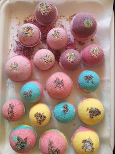 Homemade bath bombs with unicorn colors