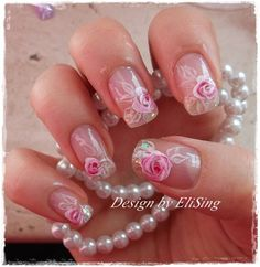 Roses and sparkles by EliSing - Nail Art Gallery nailartgallery.nailsmag.com by Nails Magazine www.nailsmag.com #nailart