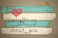 I Love Everything About You Pallet Sign Wall Decor Blue, White, Black, Pink Heart on Etsy, $45.00