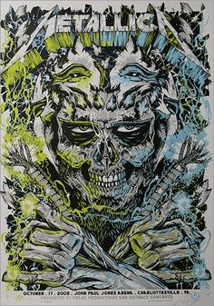 Metallica - silkscreen concert poster (click image for more detail) Artist: Rhys Cooper Venue: John Paul Jones Arena Location: Charlottesville, VA Concert Date: Size: 18 x 26 Edit Metallica Art, Metallica Concert, Hard Rock, Rock Bands, Metal Bands, Tour Posters, Band Posters, John Paul Jones, Recital
