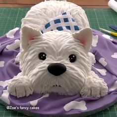 Westie Dog Cake , Westie Dog Cake Tutorial West Hi Cake Decorating Videos, Cake Decorating Techniques, Dog Cakes, Cupcake Cakes, Bolo Artificial, Flower Basket Cake, Zoes Fancy Cakes, Decoration Patisserie, Puppy Cake