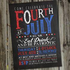 Retro Vintage Chalkboard Fourth of July Printable Invitation via Etsy
