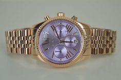 Michael Kors Damenuhr Uhr MK6207 Lexington Roségold Lila UVP: 249