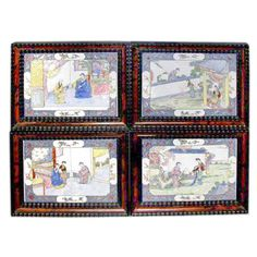 A rare set of four antique, late Qianlong period Chinese Canton enamel plaques depicting a suitor's pursuit in polychrome. Later Dutch style frames executed in tortoise shell and ebonized wood. Size indicated is overall.