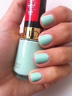 """Just Bought Revlon's """"Minted."""" A Beautiful Mint Green Color. Looks Lovely On The Nails!<3"""
