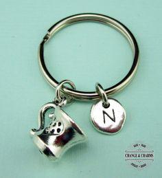 Teacup Keychain, Coffee Cup Keychain, Teacup Charm, Coffee Cup Charm, Teacup, Initial Charm, Personalized Gift, Custom Keychain, Monogram