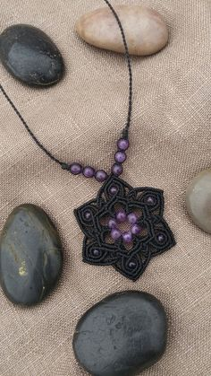 Pendant with Amethyst handmade macrame with waxed thread Brazilian and convenient slide clasp and adjustable.