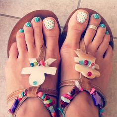 Blue & white polka dot toenails! Are your feet sandal ready? Clean them up with the Diane Pedicure Set!