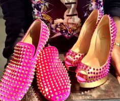 His  Her Pink Studded Louboutin's ༝༚❤༝༚                                                                          ・⚤・ℍ!Ž..HëR'ź・⚤・