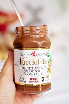 Nocciolata: the organic version of Nutella. It tastes even better than nutella, if that's possible!